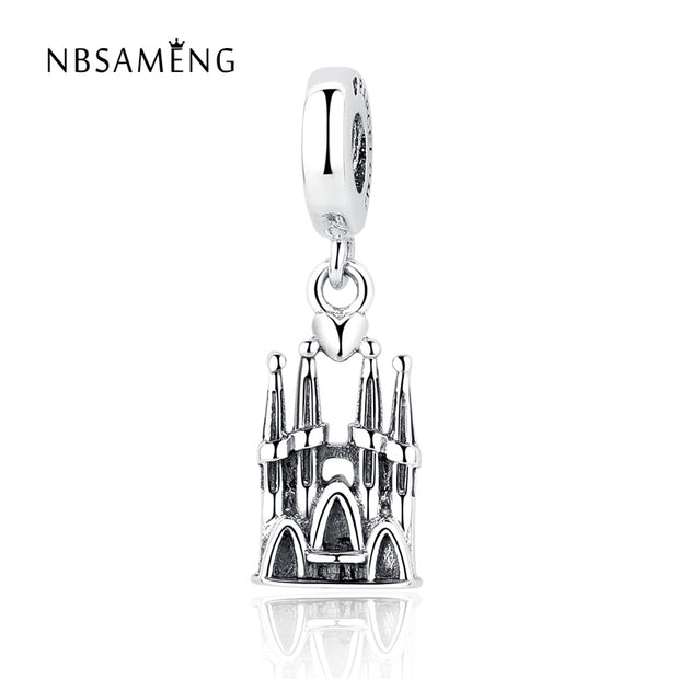 Authentic 925 Sterling Silver Bead Charm Vintage Barcelona Castle