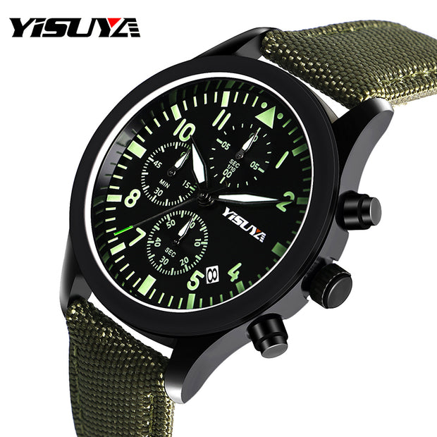 YISUYA Men's Watch Nylon Luminous Chronograph Sports Watch Tactical