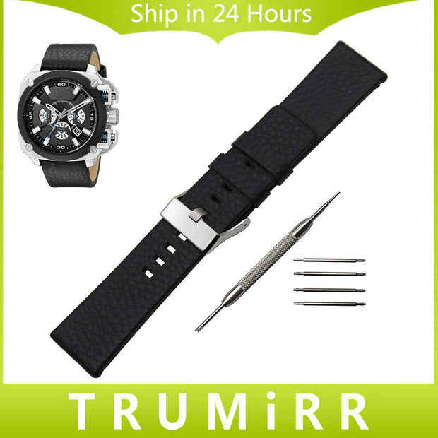 Top layer Cowhide Genuine Leather Watchband + Tool for Diesel DZ Men