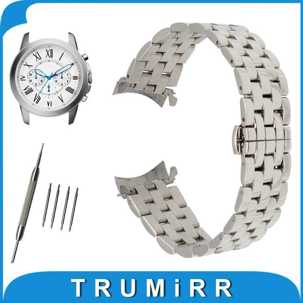 18mm 20mm 22mm 24mm Stainless Steel Watch Band Curved End Strap + Tool