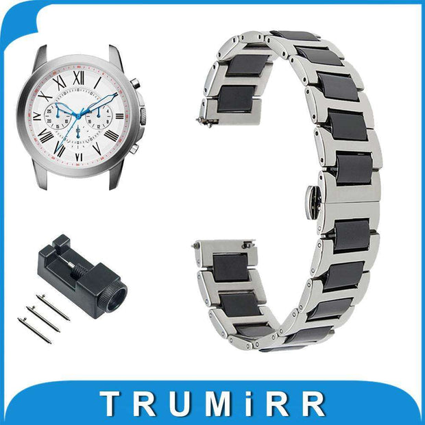 18mm 20mm 22mm Ceramic + Stainless Steel Watch Band for Fossil