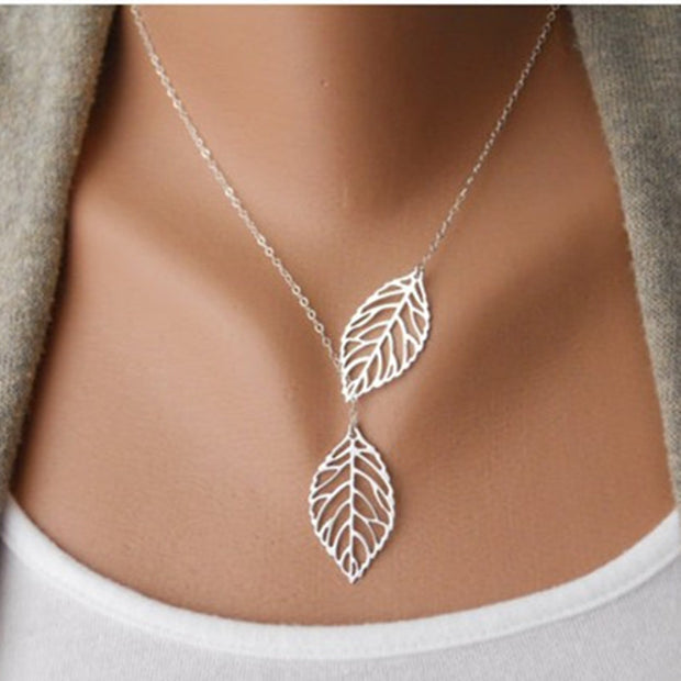 NK607 New Punk Fashion Minimalist Two Leaves Pendant Clavicle