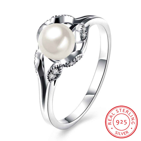 925 Sterling Silver Simulated Pearl Women Rings Cubic Zirconia Wedding