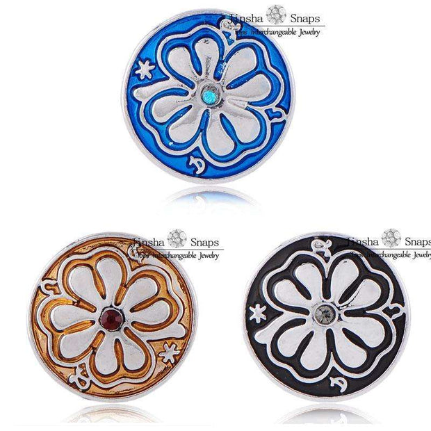 (20pcs/lot) New Oil Drop Flower Painting Designs 18mm Snaps Button