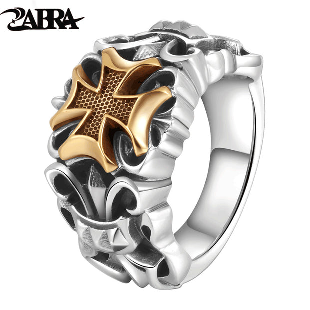 ZABRA Solid Silver 925 Rings For Men Big Golden Cross Anchor Ring Punk