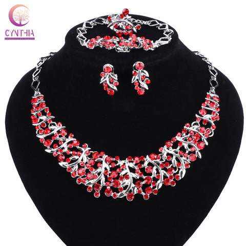 Hot Sale Luxury High Quality Rhinestones Necklace Earrings Sets