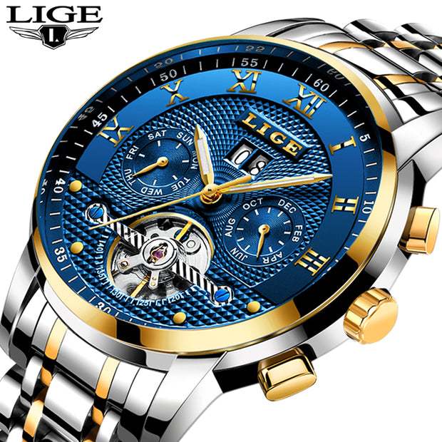 New 2017 LIGE Brand Watch Men Top Luxury Automatic Mechanical Watch