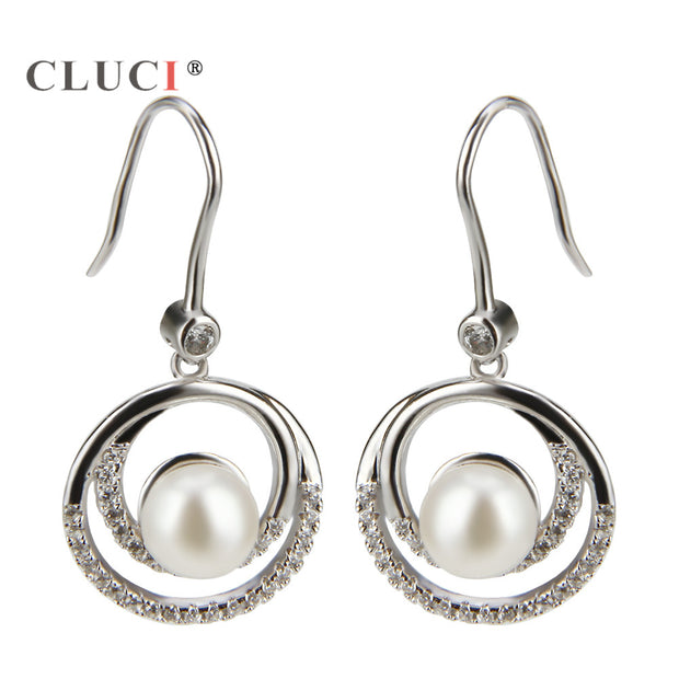 CLUCI Sterling Silver 925 Double Round Loops Circles Earrings