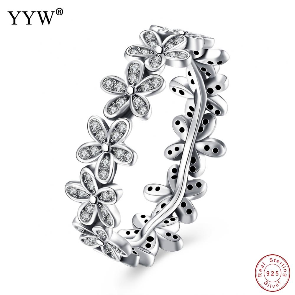 925 Sterling Silver Flowers Finger Rings Dazzling Daisy Meadow Stackable Ring, Clear CZ For Women Wedding Jewelry