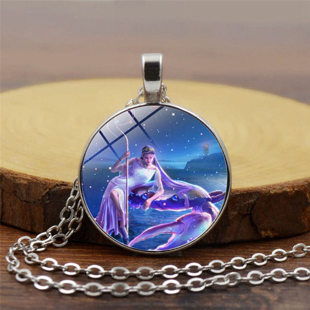 (12pcs/lot)Pendant Necklace Constellation Star Sign Necklace zodiac signs twelve constellations horoscope For Women Girl Gift