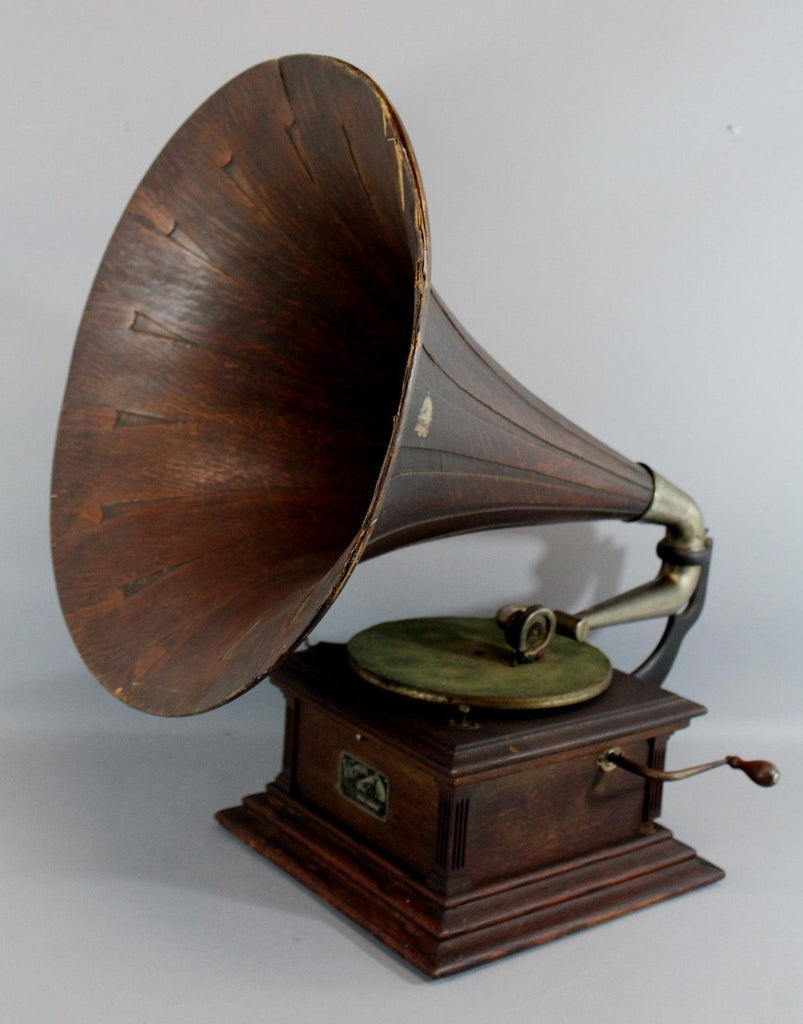 Antique RCA Victor III Talking Machine Record Player Phonograph w/ Oak Horn