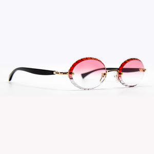 Black Horn With Red Rubies Frames