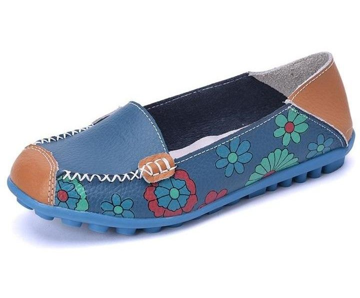 Women Shallow Prints Slip On Blue Flat Shoes