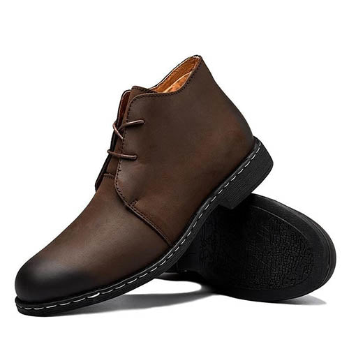 Men Cow Leather Casual Ankle Boots
