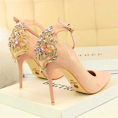 Women Elegant Crystal Buckle High Heel Shoes - FashionzR4U
