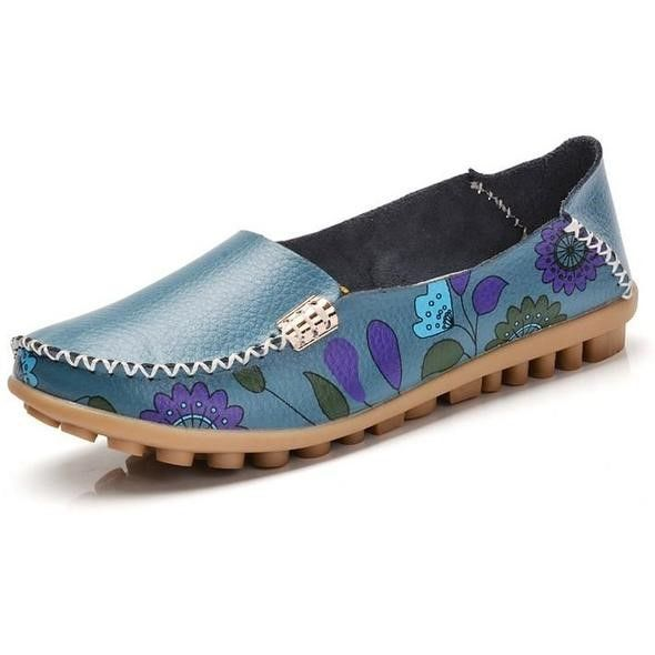Women Slip On Leather Prints Blue Shoes
