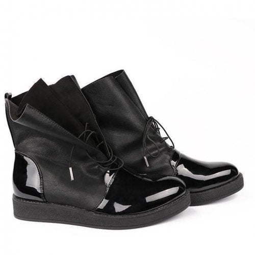 Ladies Ankle Fashion Patent Leather Boots