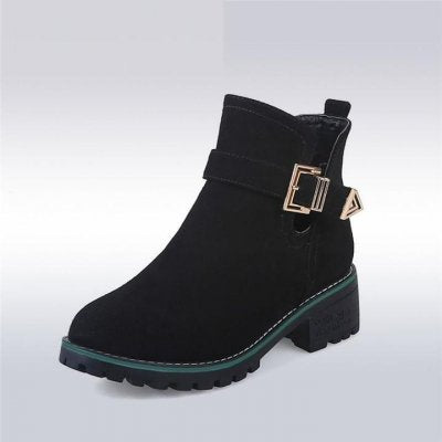 Women Strap Buckle Chunky Heels Ankle Boots - FashionzR4U