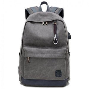 Unisex Canvas Gray Backpack