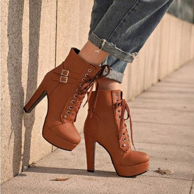Women Ankle Heels Lace Up Buckle Boots - FashionzR4U