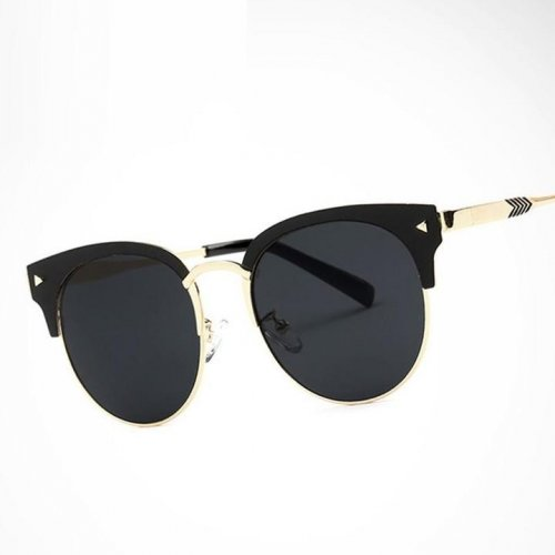Women`s Over Sized Mirror Round Half Gold Sunglasses