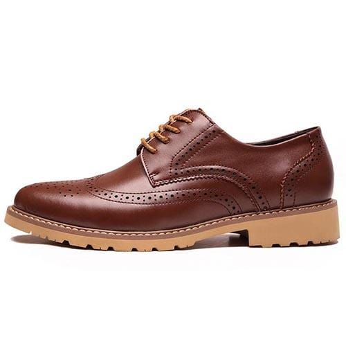 Men Classic Leather Brogue Lace-up Shoes - FashionzR4U