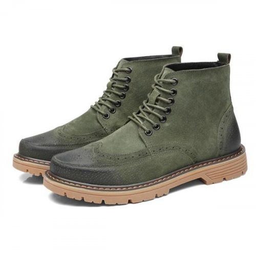 Men Suede Leather Lace Up Bullock Boots