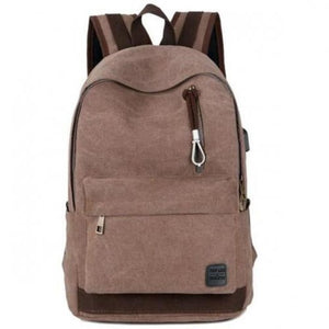 Unisex Canvas Brown Backpack