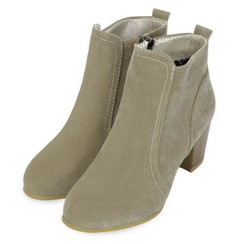 Women Stylish Side Zipper Scrub High Heel Boots - FashionzR4U