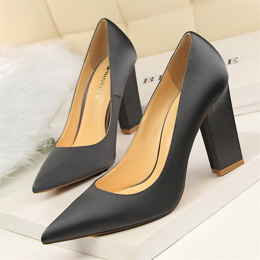 Women Silk Pointed Toe High Heel Shoes - FashionzR4U