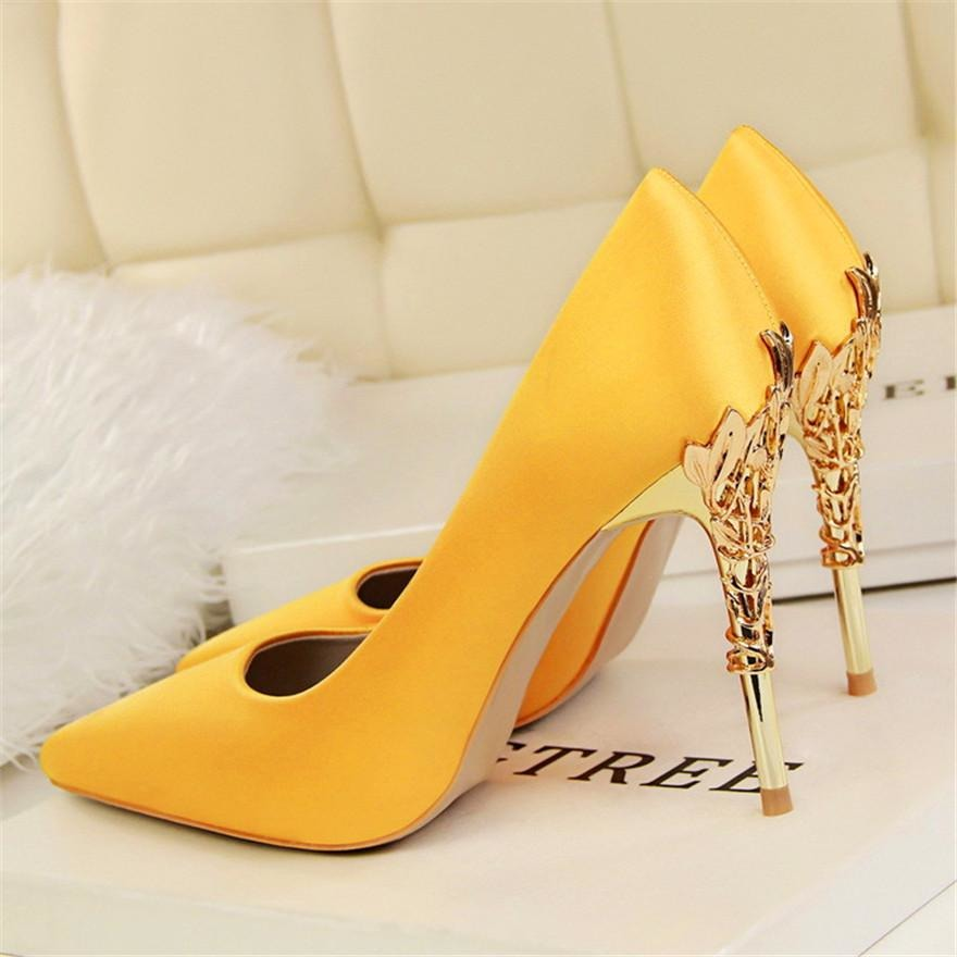 Women Elegant Metal Heel Silk Shoes - FashionzR4U