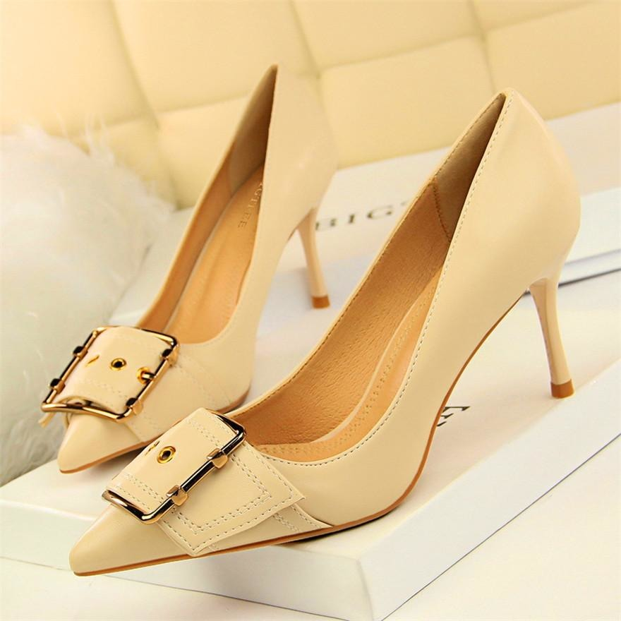 Women Metal Belt Leather Shoes - FashionzR4U