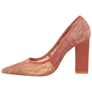 Women Square Heel Hard Lace Shoes