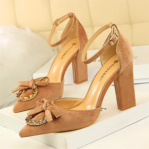 Women Crystal Shallow Buckle Shoes