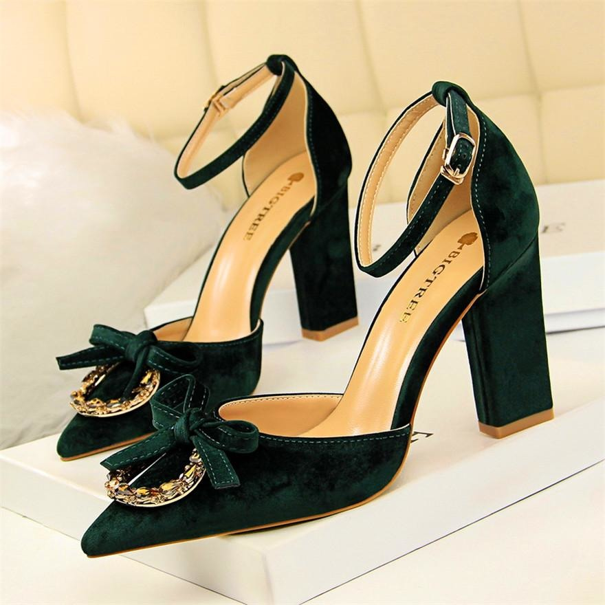 Women Crystal Shallow Buckle Heel Shoes - FashionzR4U