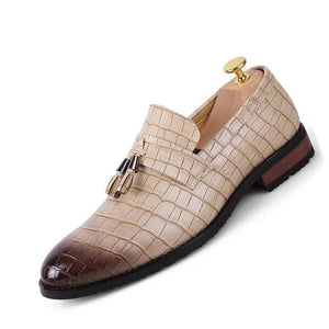 Men Vintage Crocodile Pattern Leather Dress Shoes