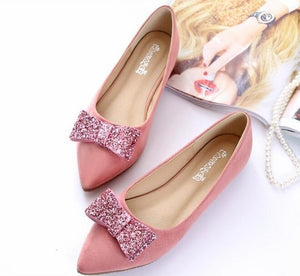 Women Fashion Small Pink Bow Tie Flat shoes - FashionzR4U