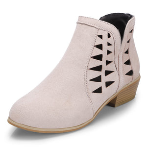 Women Suede Hollow Thick Heel Large Size Pink Ankle Boots