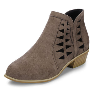 Women Suede Hollow Thick Heel Large Size Brown Ankle Boots