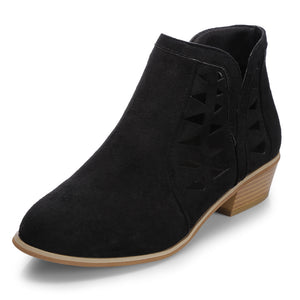 Women Suede Hollow Thick Heel Large Size Black Ankle Boots
