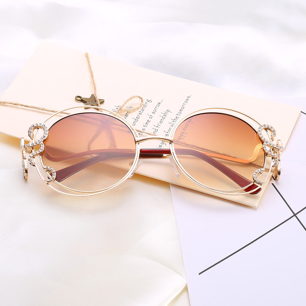 Women  Double Round Diamond Hollow Out Sunglasses