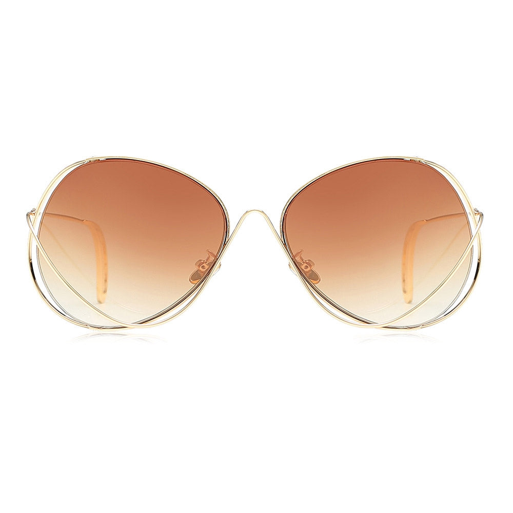 Women Novel Metal Frame Oversize Lens Sunglasses