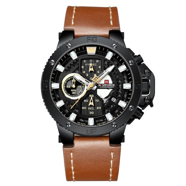 Men Luxury Military Leather Sports Chronograph Quartz Watch - FashionzR4U