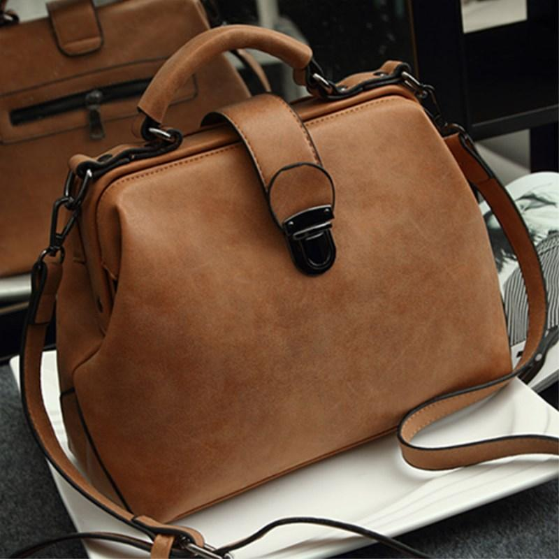 Women New Retro Doctor Bag Fashion Large Capacity Shoulder Scrub Leather Handbag