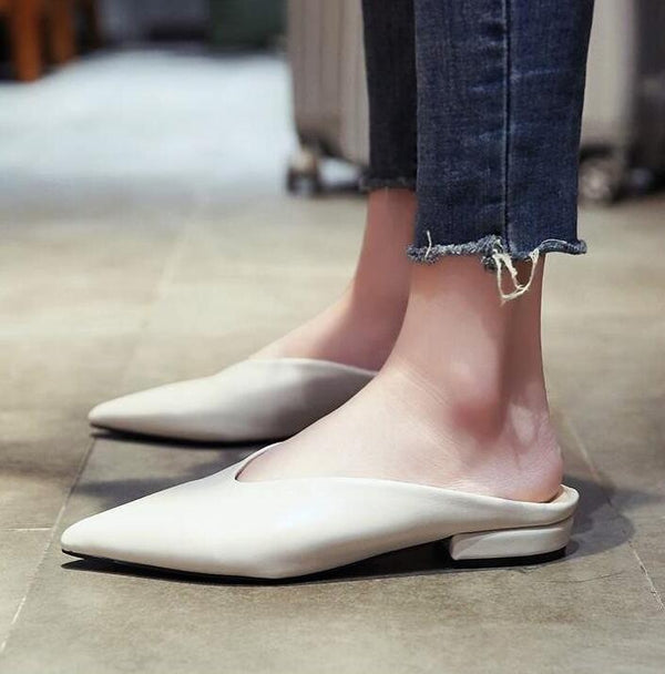 Women Fashion Pointed Toe Leather Mules Flat Slides In Slippers - FashionzR4U