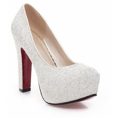 Women Glitter Thick Heel Shoes - FashionzR4U