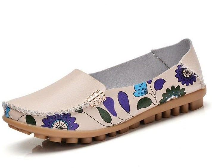 Women Slip On Leather Prints Beige Shoes