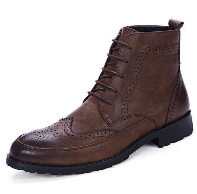 Men British Style Lace Up Leather Brown Boots