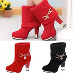Women Martin Ankle High Heel Leather Boots