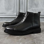 Men Vintage Zipper Casual Leather Ankle Black Boots